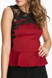 top,red top,floral lace,lace applique,sleeveless top,peplum top