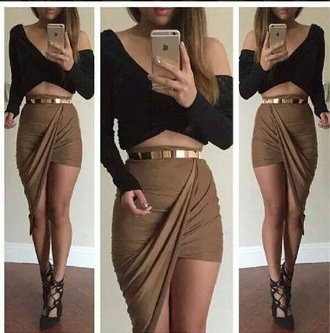 skirt twisted front skirt asymmetrical skirt stretch fabric khaki