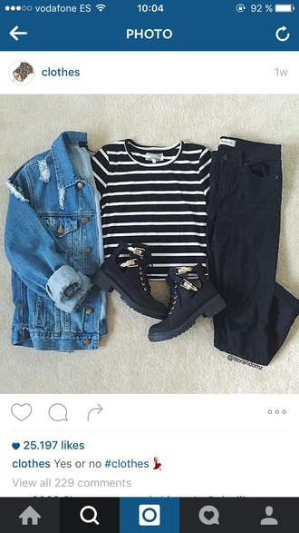 t-shirt striped t shir jeans jacket cutr tumblr hipster shoes