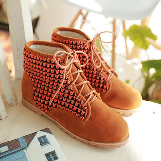 shoes boot wool lace up