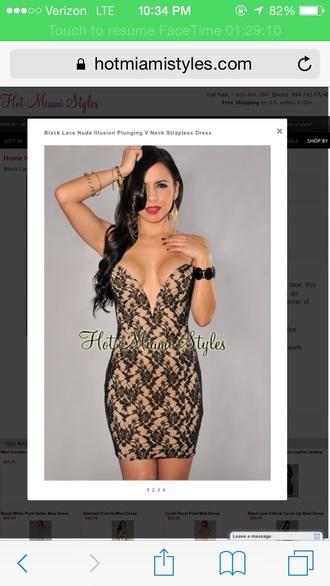 dress deep v neck dress strapless lace dress black dress
