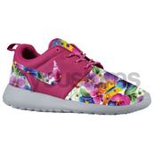 shoes,nike,sneakers,pink,floral,nike roshe run,floral roshe,pink roshe,pink roshe runs,flowers,custom nike,roshe custom,roshes,running shoes,nike running,grey