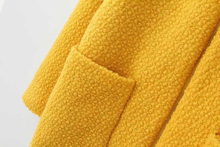 Abrigo cremallera bolsillos mangas largas-Amarillo