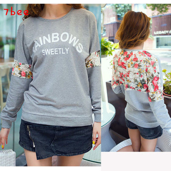 cute sweater grey sweater rainbow floral