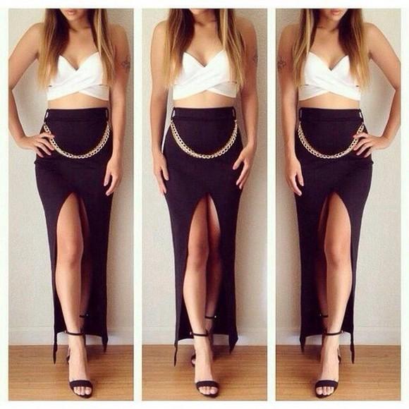 long open leg skirt exposed legs