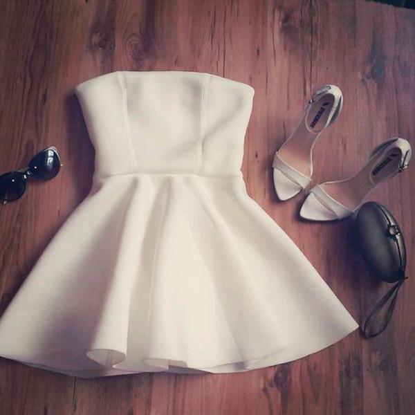 white dress dress white white shoes short dress sunglasses bag Strapless white dress classy elegant shoes hat cockail dress style white summer dress clothes