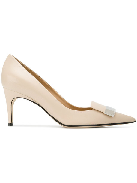 Sergio Rossi women pumps leather nude shoes