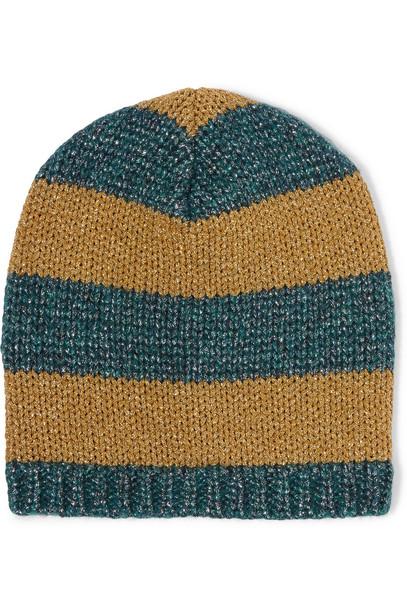 metallic beanie knitted beanie gold teal hat