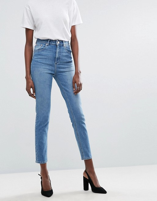 ASOS DESIGN Farleigh high waist slim mom jeans in prince wash at asos.com
