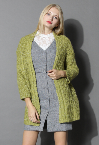 cardigan kelly green cable knit cardigan chicwish