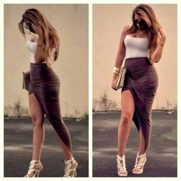 Skirt brown thin curvy long high high low wrap waist high skin tight tight casual ...