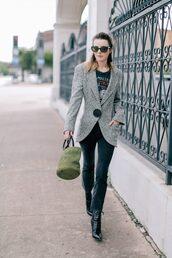 jeans,tumblr,cropped bootcut jeans,boots,black boots,bag,green bag,blazer,grey blazer,shoes,jacket