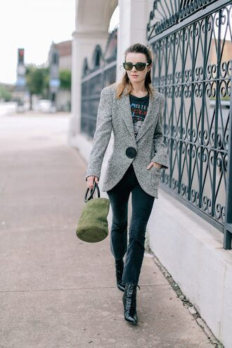 jeans tumblr cropped bootcut jeans boots black boots bag green bag blazer grey blazer shoes jacket