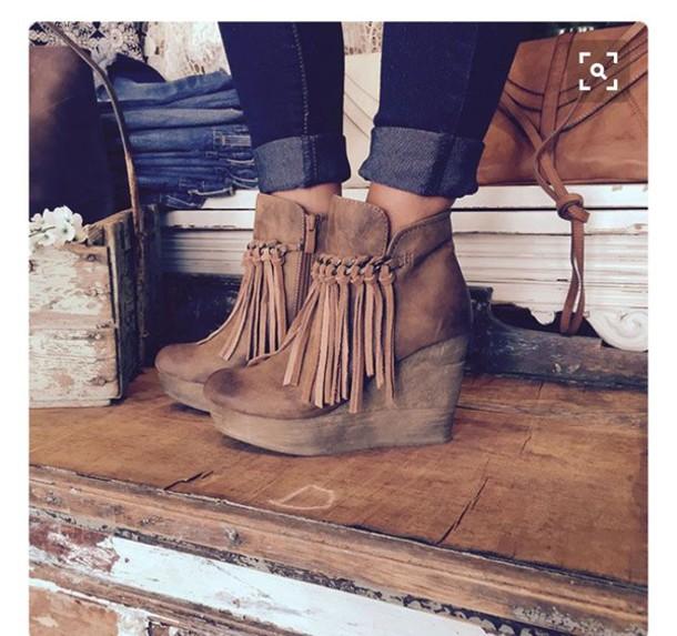 b1d560fb2d9 shoes boots tassel brown trendy wedges