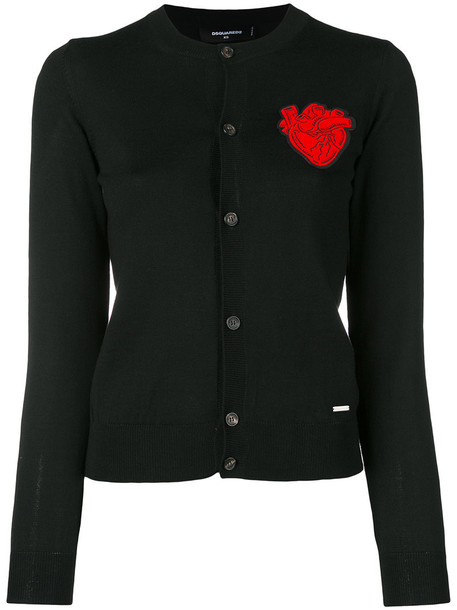 Dsquared2 cardigan cardigan heart women black wool sweater