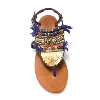 Sandales plates zara ethnique en cuir