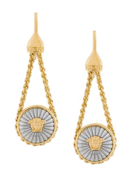 VERSACE metal women earrings pendant grey metallic jewels