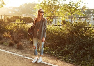 the blonde salad blogger shoes jeans jacket sunglasses top