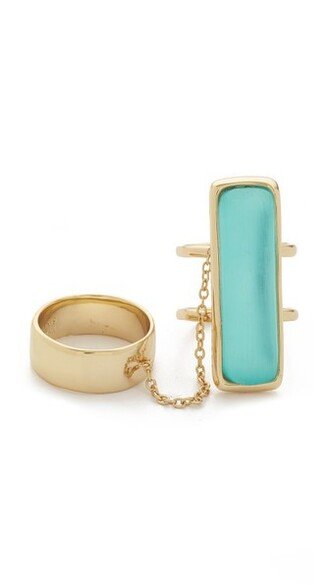 ring gold green mint jewels