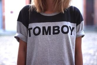 shirt fashion t-shirt tomboy grey shirt brand cool clothes like blouse boyish unisex statement tees grey black quote on it shirt with text letters black letters tomboy shirt blonde hair black shirt