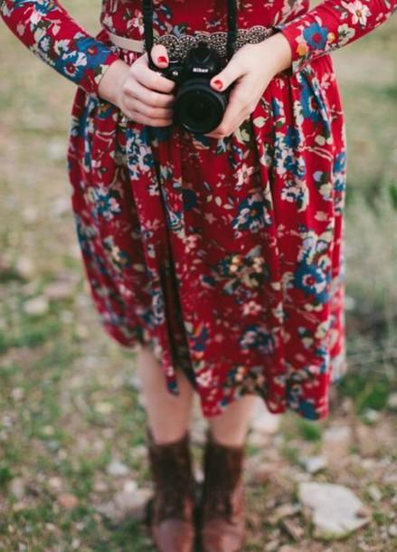 dress floral floral dress long sleeve dress hipster