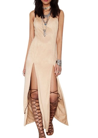 dress zaful girly girl girly wishlist style summer dress summer outfits summer fashion maxi dress maxi sleeveless sleeveless dress slit v neck dress v neck nude nude dress beige beige dress