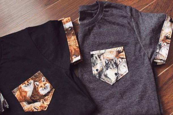 6ba64def2607 shirt animal print animal face print animal clothing black wolf fox ootd  tumblr outfit tumblr girl
