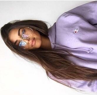 sweater champion lhoodie  lavendeerr sunglasses purple drawstring