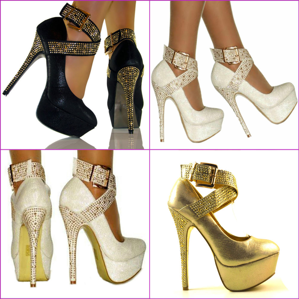 LADIES ANKLE STRAP HIGH HEEL SHOE PLATFORM GOLD METAL DIAMANTE STUD WEDDING SIZE