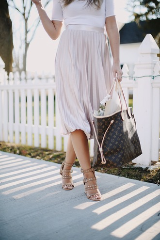 skirt tumblr bag midi skirt pink skirt pleated pleated skirt metallic pleated skirt sandals sandal heels high heel sandals brown sandals
