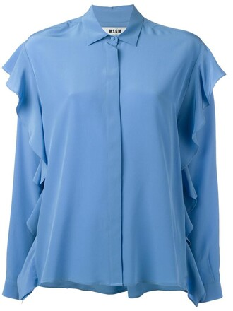 shirt ruffle women blue silk top