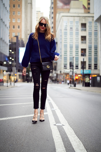 fashionjackson blogger sweater jeans shoes bag sunglasses jewels make-up gucci bag gucci crossbody bag blue sweater fall outfits high heel pumps valentino rockstud black jeans navy thanksgiving outfit club monaco black ripped jeans valentino celine celine sunglasses watch nars cosmetics