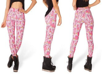 pants pink princess bubblegum adventure time leggings adventure time leggings