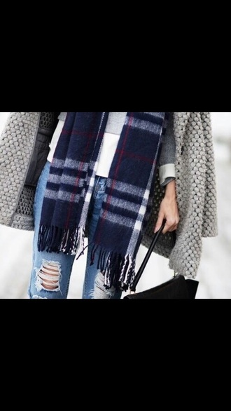 scarf jeans coat blue white red grey black winter outfits fall