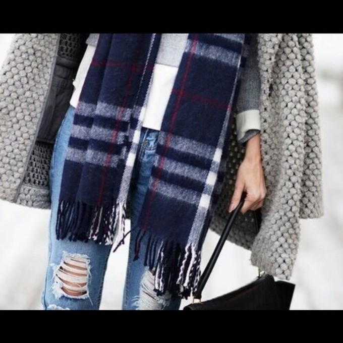 red scarf black jeans coat grey white blue fall outfits winter outfits scarf red