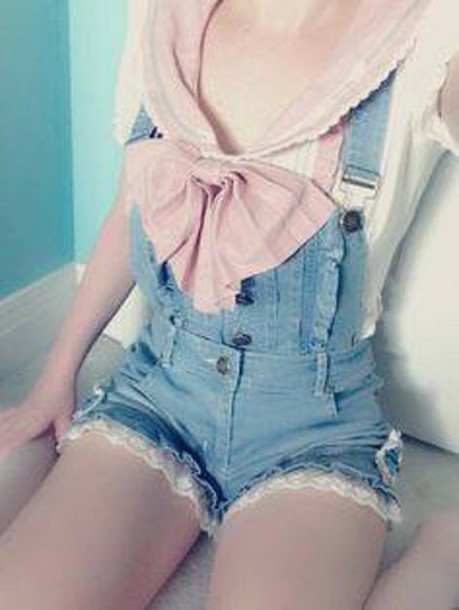 shorts cute kawaii lace overalls short overalls romper overalls bow shortalls blue pink lovely short blouse jumpsuit denim anime japan japanese pretty sailor ribbon tie white top shirt ruffle girly button seifuku pink seifuku kawaii shorts lace shorts lacy trim