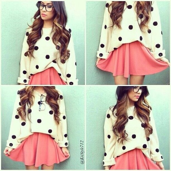 polka dots skirt sweater white black pink