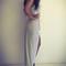 White contrast stripe cut out back twist asymmetric maxi dress