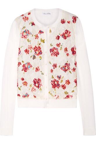 cardigan embellished lace silk wool cream sweater