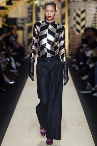 top sequins sequin shirt pants fall outfits runway fashion milan fashion week 2016 fashion week 2016 max mara