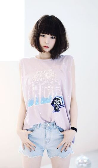 shirt muscle t-shirt cute darth vader light pink muscle tee
