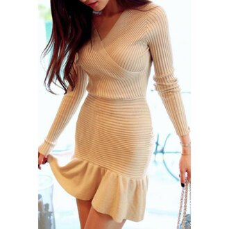 dress wrap dress peplum peplum dress cream lovely asian streetwear rose wholesale knitwear casual dress knitted sweater beautiful girly pretty