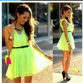 dress,shoes,flowy,neon,cute,short,bracelets,high heels,clutch,spring outfits,yellow,neon yellow,lime,neon dress,yellow dress,green dress,summer dress,day dress,neon lime dress,fluo,fluo dress,cute dress,beautiful dresses