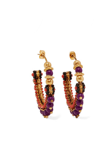 beaded earrings hoop earrings gold purple jewels