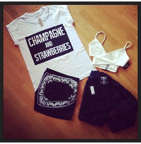 t-shirt champagne and strawberries t-shirt cardigan