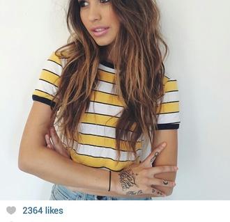 t-shirt white yellow stripey stripe stripe top
