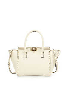Rockstud Shopper Tote Bag, Ivory