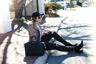 life & messy hair blogger jacket hat t-shirt sunglasses shoes bag jewels jeans cap givenchy bag givenchy ankle boots black jeans striped top