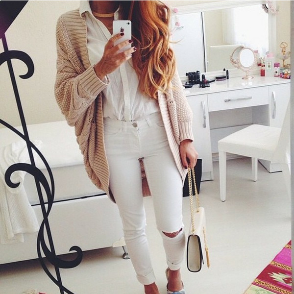 bag jacket jeans cardigan sweater blouse beige