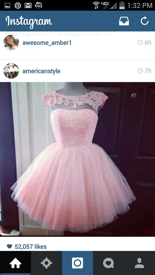 pink dress short dress homecoming dress tulle dress peekaboo